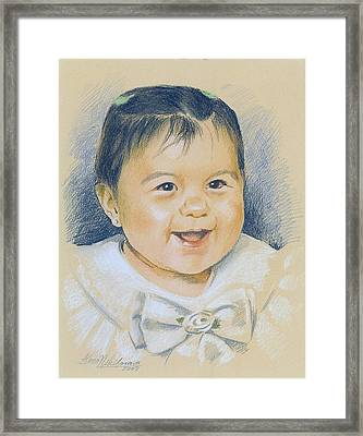 Pastel Portrait Of A Girl In A White Dress. Commission. Framed Print by Alena Nikifarava