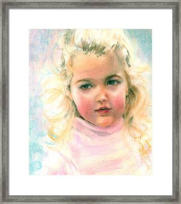 Pastel Portrait Of An Angelic Girl Framed Print