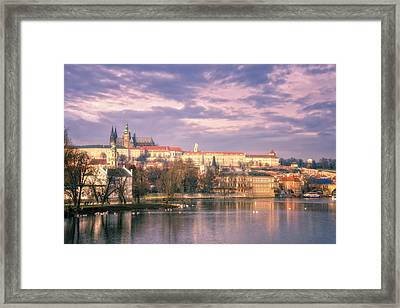 Pastel Prague Morning Framed Print by Joan Carroll
