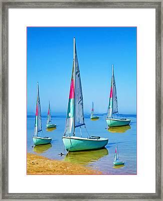 Pastel Sailboats Framed Print