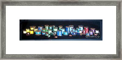 Pastel Spools-coat Of Many Colors Framed Print by Joseph Hawkins
