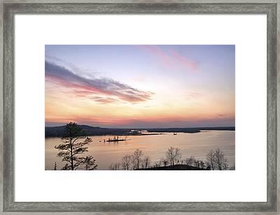 Pastel Sunset Over The Arkansas River Framed Print