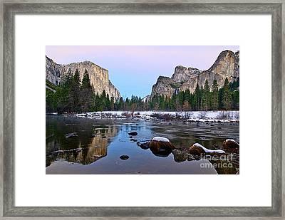 Pastel - Sunset View Of Yosemite National Park. Framed Print by Jamie Pham