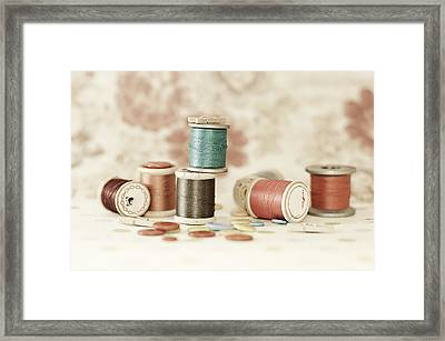 Pastel Threads And Buttons Framed Print