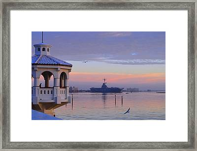 Pastel Uss Lexington Framed Print by Leticia Latocki