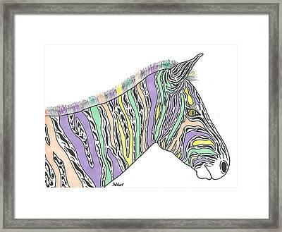 Pastel Zebra  Framed Print