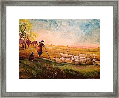 Framed Print featuring the painting Pastoral Landscape by Egidio Graziani