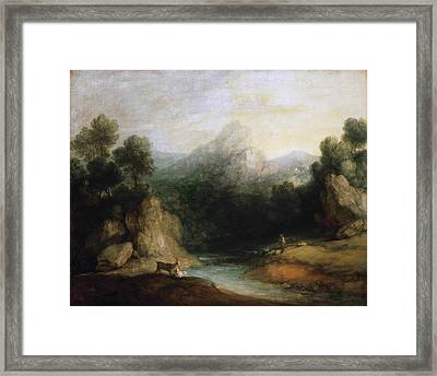 Pastoral Landscape. Rocky Mountain Valley With A Shepherd Sheep And Goats Framed Print