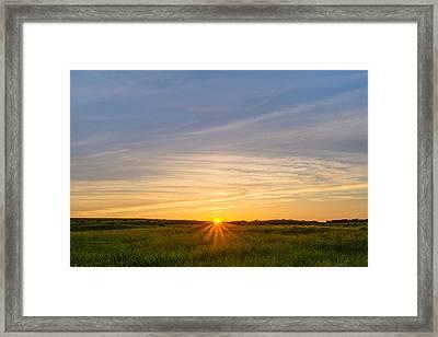 Pasture At Sunset Framed Print