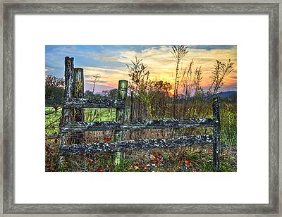 Pasture Fence Framed Print by Debra and Dave Vanderlaan