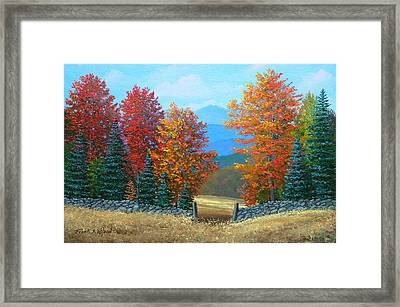 Pasture Gate In Autumn Framed Print by Frank Wilson