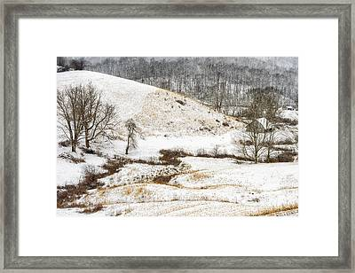 Pasture Hills And Snow Framed Print by Thomas R Fletcher