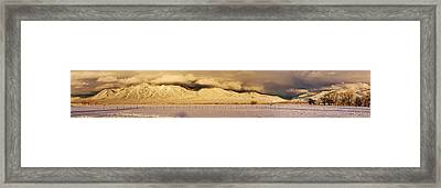 Pasture Land Covered In Snow At Sunset Framed Print by Panoramic Images