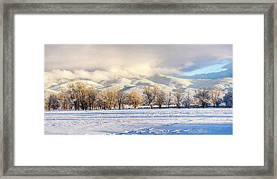 Pasture Land Covered In Snow With Taos Framed Print by Panoramic Images