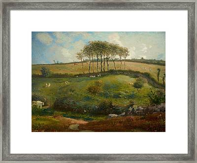 Pasture Near Cherbourg Framed Print by Jean-Francois Millet