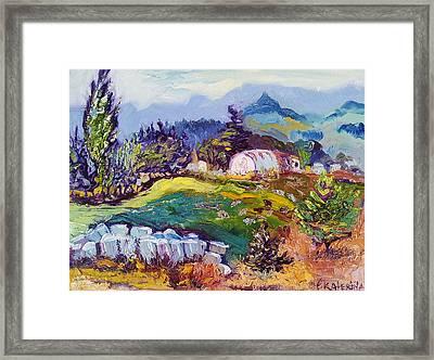 Pastures Landscape Oil Painting Framed Print