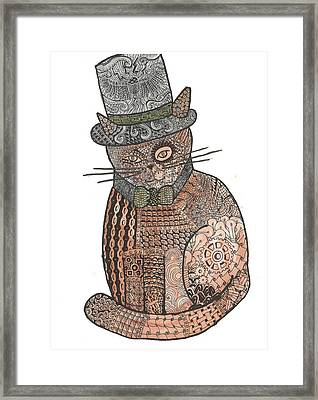 Patchwork Cat IIi Steampunk Kitty Framed Print