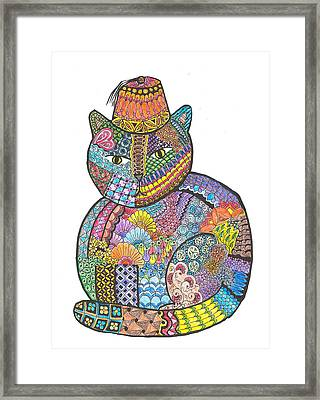 Patchwork Cat Iv Kitty With A Fez Framed Print