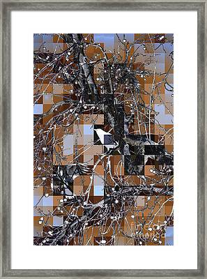Patchwork Crows Framed Print