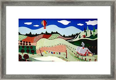 Framed Print featuring the painting Patchwork Farmland by Joyce Gebauer