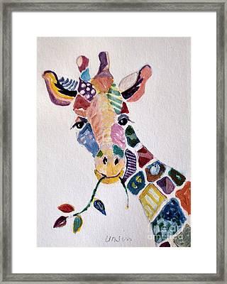 Patchwork Giraffe Framed Print by Diane Ursin