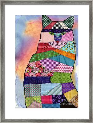 Patchwork Kitty Framed Print by Juli Scalzi