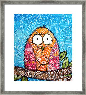 Patchwork Owl - Orange Framed Print by Stacey Clarke