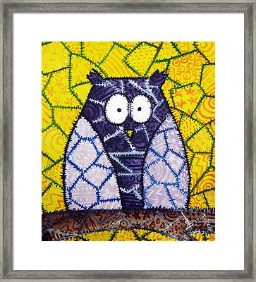 Patchwork Owl - Purple Framed Print by Stacey Clarke