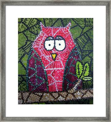Patchwork Owl - Red Framed Print