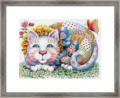 Framed Print featuring the drawing Patchwork Patty Catty by Dee Davis