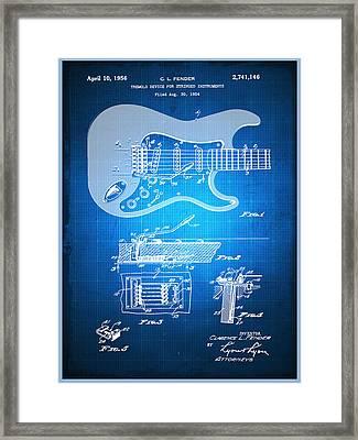 Fender Guitar Patent Blueprint Drawing Framed Print by Tony Rubino