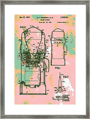 Patent Art Coffee Grinder Framed Print by Dan Sproul