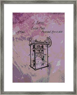Patent Art Cotton Press Framed Print by Dan Sproul