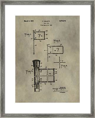 Patent Art Golf Flag Framed Print by Dan Sproul
