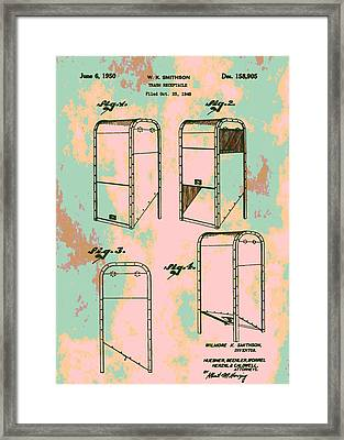 Patent Art Trash Can Framed Print by Dan Sproul