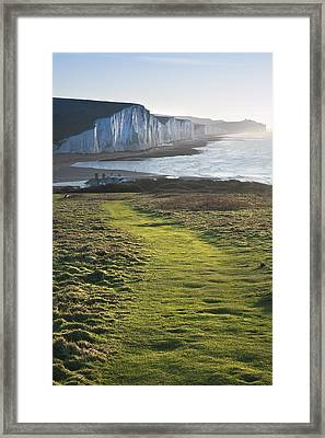 Path Along Seaford Head Towards Seven Sisters Framed Print by Matthew Gibson