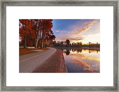 Path And Greenlake Sunrise Framed Print by Mike Reid