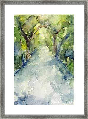 Path Conservatory Garden Central Park Watercolor Painting Framed Print