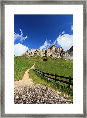 Framed Print featuring the photograph path in Gardena pass by Antonio Scarpi