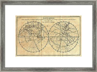 Path Of The 1761 Transit Of Venus Framed Print by American Philosophical Society
