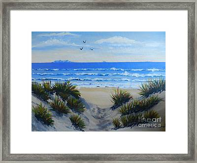 Path Through The Sand Dunes Framed Print by Pamela  Meredith