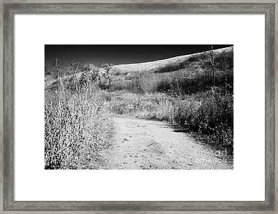 path through Wanuskewin heritage park saskatoon Saskatchewan Canada Framed Print by Joe Fox