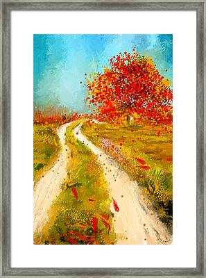 Path To Change- Autumn Impressionist Painting Framed Print by Lourry Legarde