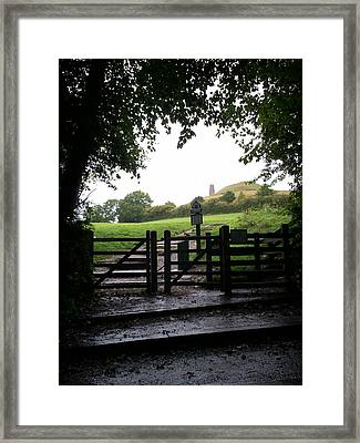 Path To Glastonbury Tor Framed Print by Richard Andrews