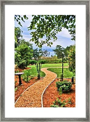 Garden Path To Wild Marsh Framed Print