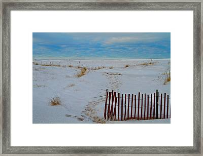 Winter Beach In Saint Joseph Michigan Framed Print by Dan Sproul