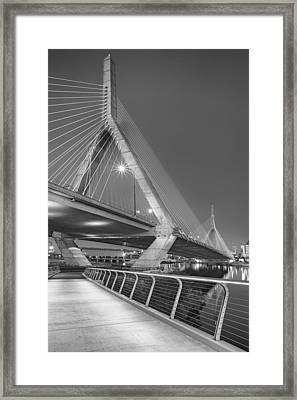 Path To The Leonard P. Zakim Bridge Bw Framed Print
