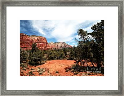 Path To The Sedona Mountains Framed Print by John Rizzuto