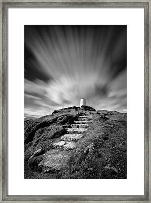 Path To Twr Mawr Lighthouse Framed Print by Dave Bowman
