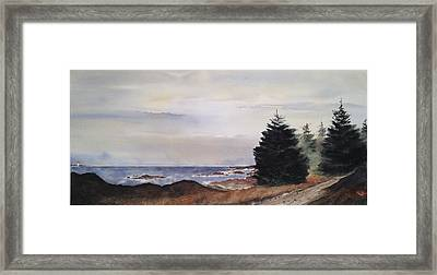 Path To Ucluelet In Winter   Victoria Island  Bc Watercolor  Framed Print